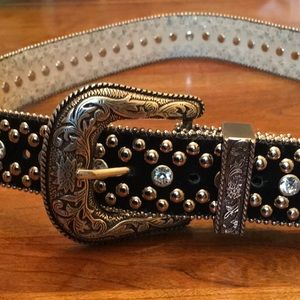 Guess Black Suede Rhinestone and Studded Belt